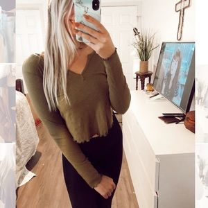 Forever 21 Green Long Sleeve Top